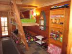 Kids' Cave, for 5 yrs or older, with 2 Twin Mattresses, secret trap door, sink and small toilet room
