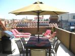 The ultimate roof top party deck with refrigerator and barbeque off sunroom