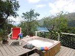 Private deck.  hot tub facing Garden bedroom