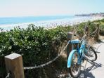 Bike rental shops nearby! Cafes and shops south along the boardwalk & in the neighborhood.