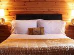 Comfy king sized beds make a great night's sleep at Kinnaird Woodland Lodges, Pitlochry