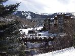 View of village and slopes from living room window