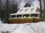Snowy front yard.
