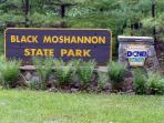 Entrance to Black Moshannon State Park (50 feet from our front door)