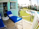 Terrace access to Master Bedroom,  relax with the front view of the beach and the side view of the pool!!