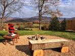 Fire Pit and Seating at All Cabins.