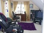 MB massage chair, desk, entertainment center