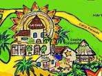 This graphic shows the 3 houses -- La Casa (on top of hill), El Nido nestled underneath, and Casita