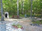 Yard with Fire Pit and Barbecue Areas