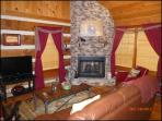 Living room with gas fire place and tv