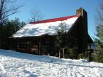 Front of cabin in Winter