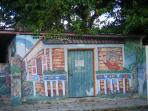 Even the local graffiti has Caribbean charm - pass this on your way to Ernestina's restaurant.