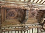 Intricate carvings in the Joglo roof