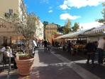 Morning food market on Cours Saleya by the sea, and Monday Antique market. At 4 minutes scenic walk