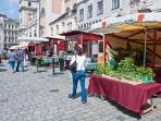 The organic farmer's market on the Freyung square: 4 minutes walk
