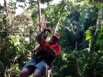 A guest on the canopy tour