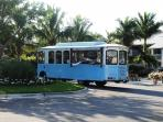 The trolley carries guests to all parts of the resort,