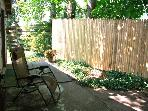 Patio is private and shady.