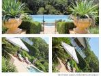 11m solar heated pool, umbrellas and deck chairs.