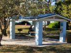 Bayside beach, picnic pavilions and swings are closeby