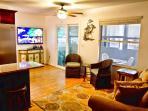Living area Wide screen TV, DVD, queen sleep sofa, Granite snack nook! 2 leather recliners not shown