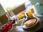 Pancakes with Fresh Vista Verde Fruit and Juice for Breakfast!