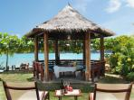 For casual light lunches, smaller groups may opt  for healthy lunches in the thatched gazebo.  Inside dining near the...
