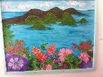 Mural in massage area created by the first guest to stay in Coral Bay Eco Retreat