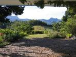 view from cottage lounge and verandah towards Springbrook and the Cougal Mountains