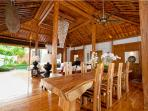 Solid teak table seats 8 for home cooked meals, balinese finest cuisine or a chef's special