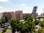 Nice beautiful views over sunny Madrid. Yes, that building is leaning like the Pisa Tower.