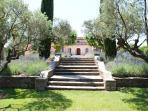 Front steps to Villa via garden