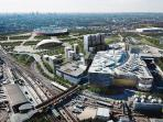 Bird's view of Stratford City Centre, Westfield shopping mall and the Olympic Village.