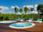 Hot tubs in area reserved for Grand Luxxe guests only
