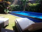 View pool from sunbeds
