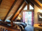 Spacious Loft w/ balcony, California King Bed + 1/4 Bath, logstyle customade vanity with copper sink