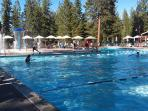 Recreation Center: Large Family Pool; Adult Lap Pool behind gym, fenced Baby Pool near playground