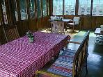 Inside the wooden house. Summer dining room :-)