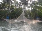 Fishing Nets on the lagoon that is 200 meters from Beach Cottage