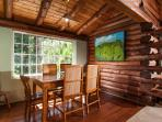 Dining room, original artwork, teak and bamboo table