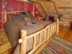 King bed tucked away in the loft - private!