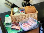 Welcome basket of local produce