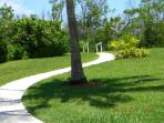 the paver path down to the beach in front of the condos