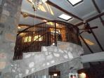 Free standing winding staircase to the outside second level