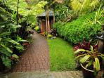 Entry Pathway lined in Bromeliads and Sub-Tropicals