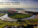View towards Mogro apartment and Golf Abra de Pas Cantabria