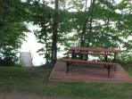 picnic table and dock
