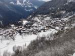 looking down in winter toward Courchevel