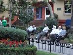 The local park where learned men gather, 1 minute from your apartment