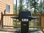 Gas grill with plumbed-in gas line on upper deck